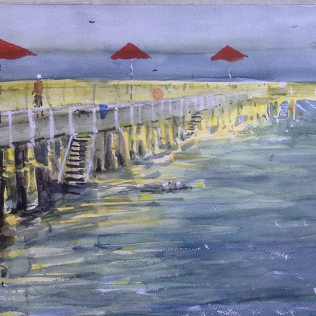 (CreativeWork) Bright Side of the Baths by Bernd Rieve. Watercolour Paint. Shop online at Bluethumb.