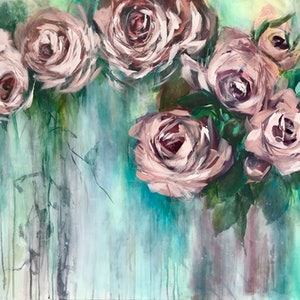 (CreativeWork) Spring Roses Original Painting  by Chris Hobel. Acrylic Paint. Shop online at Bluethumb.