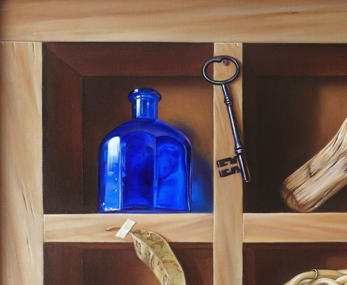 "(CreativeWork) ""Collector's shelf"" by Elena Kolotusha. Oil Paint. Shop online at Bluethumb."