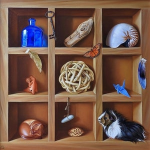 "(CreativeWork) ""Collector's shelf"" by Elena Kolotusha. oil-painting. Shop online at Bluethumb."