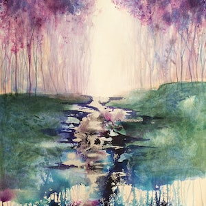 (CreativeWork) Meandering Magic by Lucinda Leveille. watercolour. Shop online at Bluethumb.
