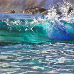 (CreativeWork) Wave Break by Carmen McFaull. Oil Paint. Shop online at Bluethumb.