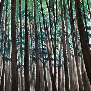 (CreativeWork) Redwood by Hana Obsidian. watercolour. Shop online at Bluethumb.