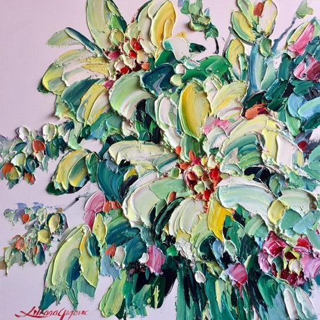 (CreativeWork) Fresh Lilies  by Liliana Gigovic. Oil Paint. Shop online at Bluethumb.