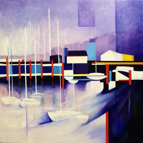 (CreativeWork) Mauve Moorings by L E Glyde. Oil Paint. Shop online at Bluethumb.
