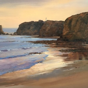(CreativeWork) Evening Glow towards Aireys Lighthouse  by Louise Price. oil-painting. Shop online at Bluethumb.