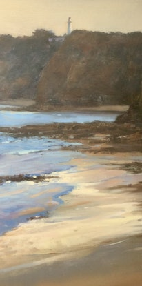 (CreativeWork) Evening Glow towards Aireys Lighthouse  by Louise Price. Oil Paint. Shop online at Bluethumb.