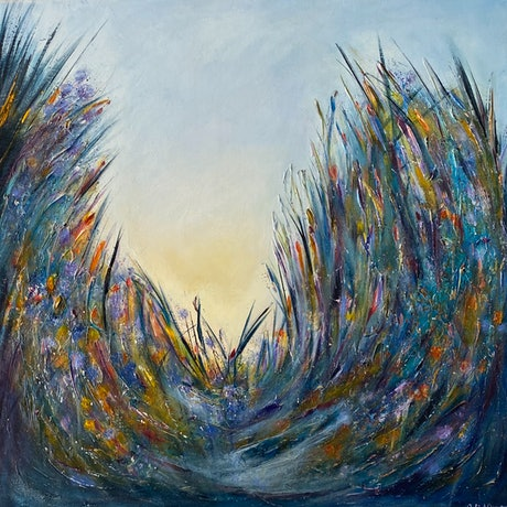 (CreativeWork) Summer Dunes by Julie Dynan. Acrylic Paint. Shop online at Bluethumb.