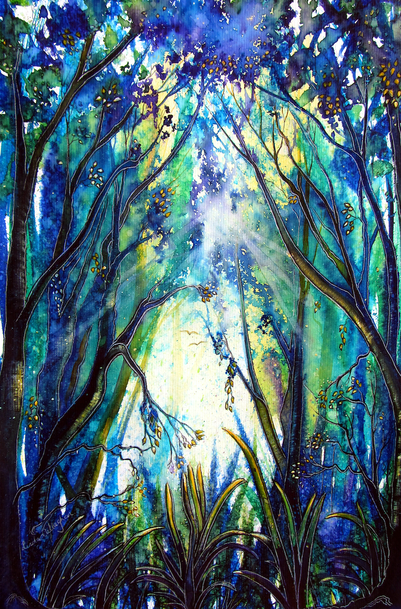 (CreativeWork) Treelight by Linda Callaghan. watercolour. Shop online at Bluethumb.