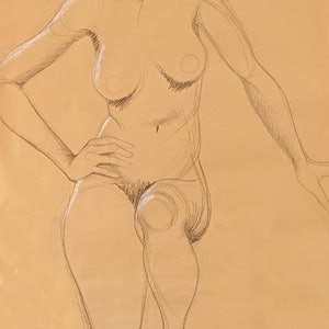 (CreativeWork) Nude on brown paper by Roxanne Raschella. drawing. Shop online at Bluethumb.