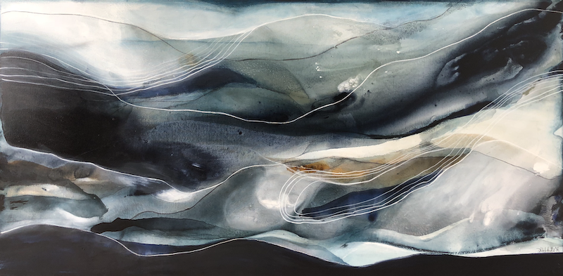 (CreativeWork) Indigo Tides  by Dinah Wakefield. arcylic-painting. Shop online at Bluethumb.
