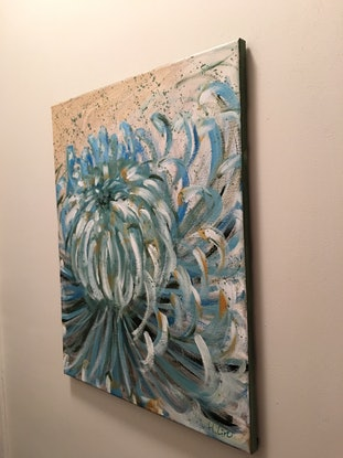 (CreativeWork) FIND YOUR BALANCE - BLUE CHRYSANTHEMUM  by HSIN LIN. Acrylic Paint. Shop online at Bluethumb.