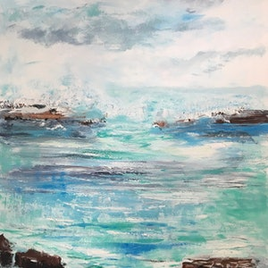 (CreativeWork) Avalon Rocks by Liz Muir. oil-painting. Shop online at Bluethumb.