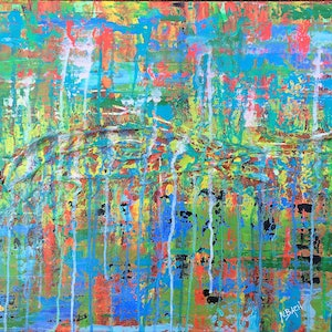 (CreativeWork) As I walk through the valley (modern abstract expressionism) by Nina Bach. mixed-media. Shop online at Bluethumb.