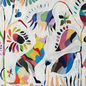 (CreativeWork) Animals in the Garden by Alison Pilcher. arcylic-painting. Shop online at Bluethumb.