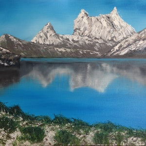 (CreativeWork) Cradle Mountain by Leanne Selkirk. oil-painting. Shop online at Bluethumb.