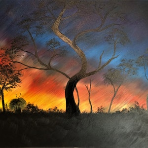 (CreativeWork) Country Sunset by Leanne Selkirk. oil-painting. Shop online at Bluethumb.