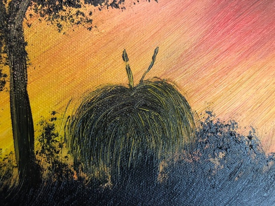 (CreativeWork) Country Sunset by Leanne Selkirk. Oil Paint. Shop online at Bluethumb.