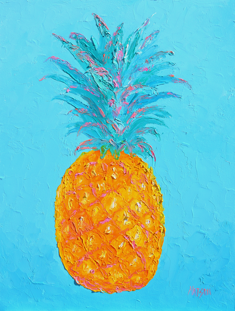 (CreativeWork) TROPICAL PINEAPPLE - FRAMED by Jan Matson. oil-painting. Shop online at Bluethumb.