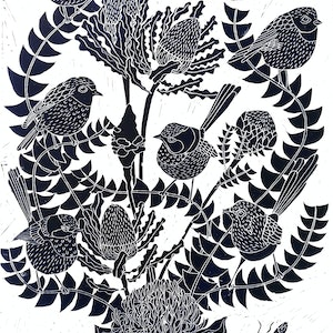 (CreativeWork) Fairy Wren and Banksia Lino print Ed. 25 of 100 by Marinka Parnham. print. Shop online at Bluethumb.