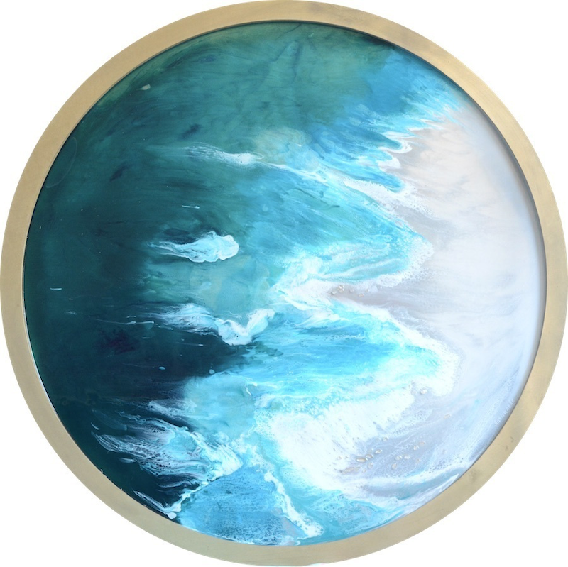 (CreativeWork) Teal Seascape - Hyams Beach - Ocean Wave Beach Resin Art Round by MARIE ANTUANELLE. resin. Shop online at Bluethumb.