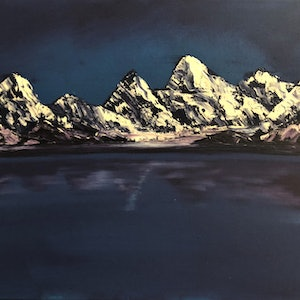 (CreativeWork) Mountains in Purple by Leanne Selkirk. oil-painting. Shop online at Bluethumb.
