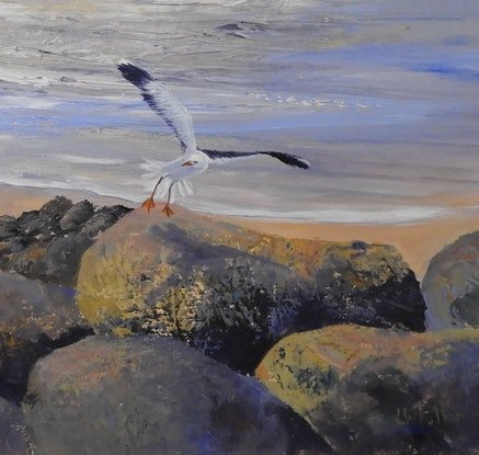 (CreativeWork) Evening Flight Seascape by Lindy Whitton. Acrylic Paint. Shop online at Bluethumb.