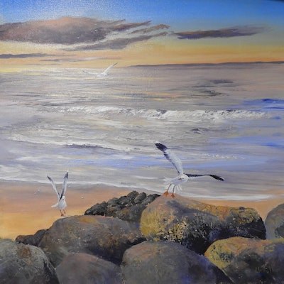 (CreativeWork) Evening Flight Seascape by Lindy Whitton. acrylic-painting. Shop online at Bluethumb.