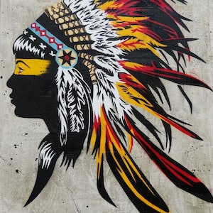 (CreativeWork) Red Feathers  HUGE 140cm x 100cm    Concrete base Urban pop art American Indian Headddress by _Franko _. mixed-media. Shop online at Bluethumb.