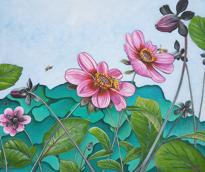 (CreativeWork) Better with bees by Mady Lewis. arcylic-painting. Shop online at Bluethumb.