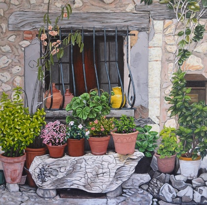 (CreativeWork) French Window Garden by Mady Lewis. arcylic-painting. Shop online at Bluethumb.