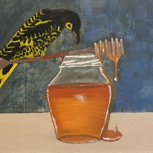 (CreativeWork) Regent Honey-Eater by Paul Cox. oil-painting. Shop online at Bluethumb.