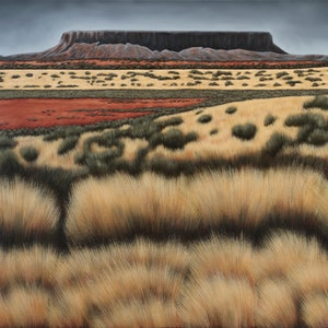 (CreativeWork) Mount Connor by Karen Standke. oil-painting. Shop online at Bluethumb.