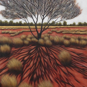 (CreativeWork) Ilparpa Tree Shadow by Karen Standke. oil-painting. Shop online at Bluethumb.