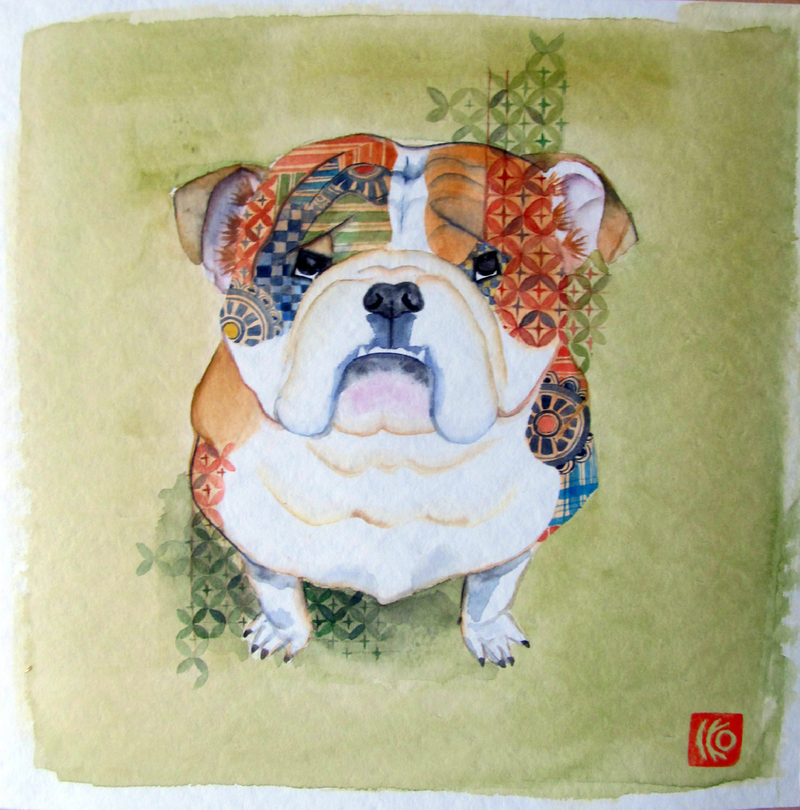 (CreativeWork) Bulldog by Ikuko Maddox. watercolour. Shop online at Bluethumb.