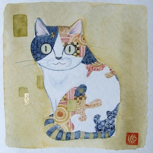 (CreativeWork) Cat2 by Ikuko Maddox. watercolour. Shop online at Bluethumb.