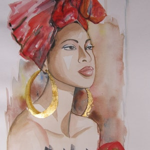 (CreativeWork) Red  Head Scarf by Ikuko Maddox. watercolour. Shop online at Bluethumb.