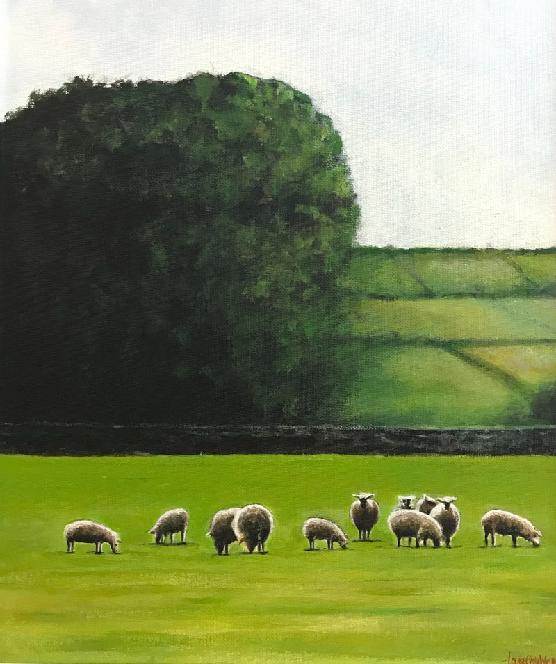 SHEEP IN A VERDANT LANDSCAPE