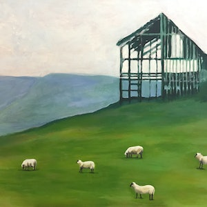 (CreativeWork) SCENIC LANDSCAPE WITH SHEEP & BARN by LOUISE GROVE WIECHERS. arcylic-painting. Shop online at Bluethumb.