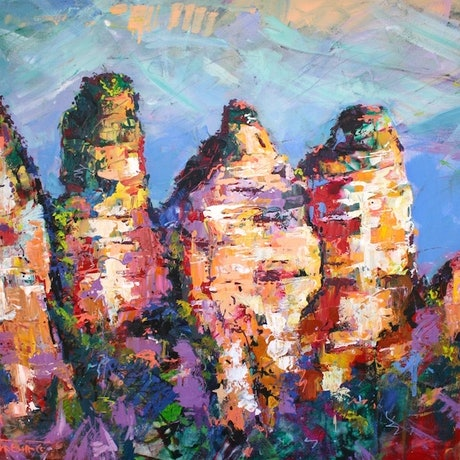 (CreativeWork) Three Sisters,  Katoomba Australia by Jos Coufreur. Acrylic Paint. Shop online at Bluethumb.
