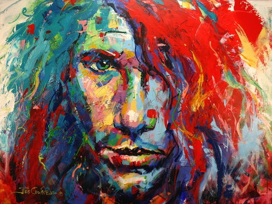 (CreativeWork) Michael Hutchence by Jos Coufreur. Acrylic Paint. Shop online at Bluethumb.