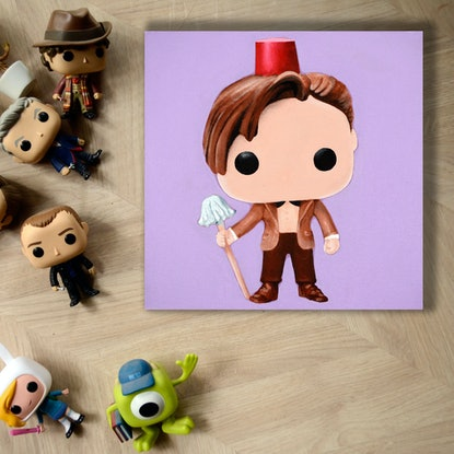 (CreativeWork) 11th Doctor With Fez And Mop by Jacquie Hughes. Acrylic Paint. Shop online at Bluethumb.