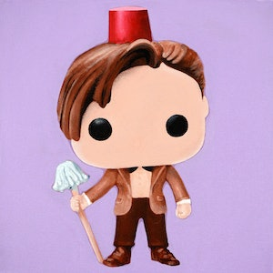 (CreativeWork) 11th Doctor With Fez And Mop by Jacquie Hughes. arcylic-painting. Shop online at Bluethumb.