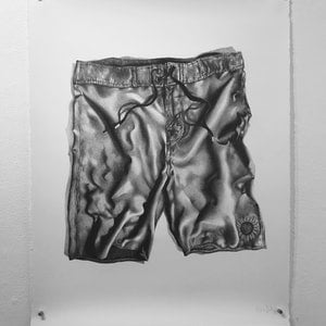 (CreativeWork) WINTER IN BOARD SHORTS by Kat Deschan. drawing. Shop online at Bluethumb.