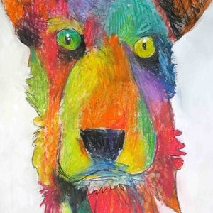 (CreativeWork) Rainbow Doggie  by John Graham. mixed-media. Shop online at Bluethumb.