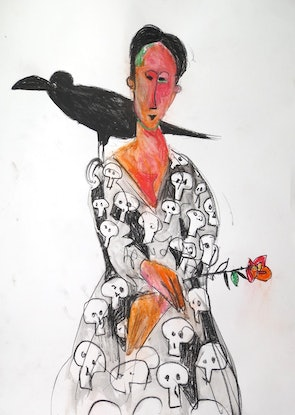 (CreativeWork) The Lady and the Crow  by John Graham. Mixed Media. Shop online at Bluethumb.