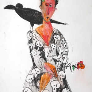 (CreativeWork) The Lady and the Crow  by John Graham. mixed-media. Shop online at Bluethumb.