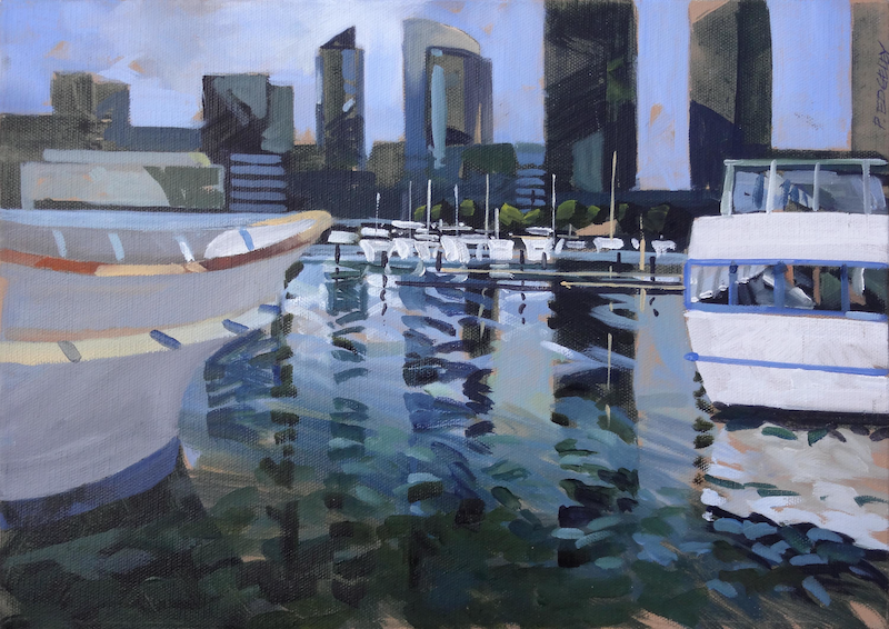 (CreativeWork) Quay by Peter Edgeley. Oil Paint. Shop online at Bluethumb.