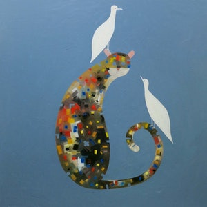 (CreativeWork) Cat with Two White Doves - One of my very best  by John Graham. oil-painting. Shop online at Bluethumb.
