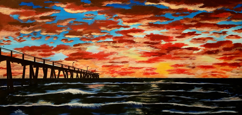 (CreativeWork) Semaphore sunset by Michelle Baumann. arcylic-painting. Shop online at Bluethumb.